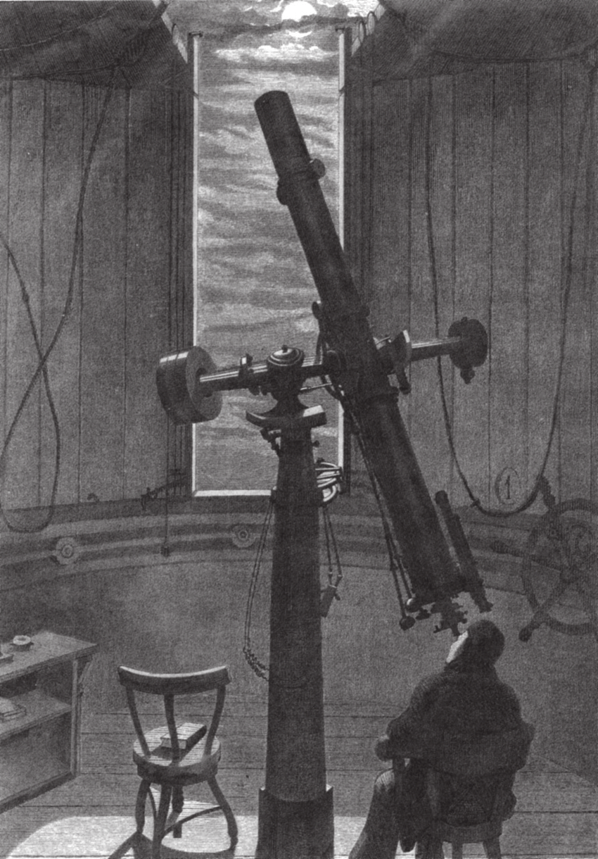 Observation of the moon at the Stockholm Observatory